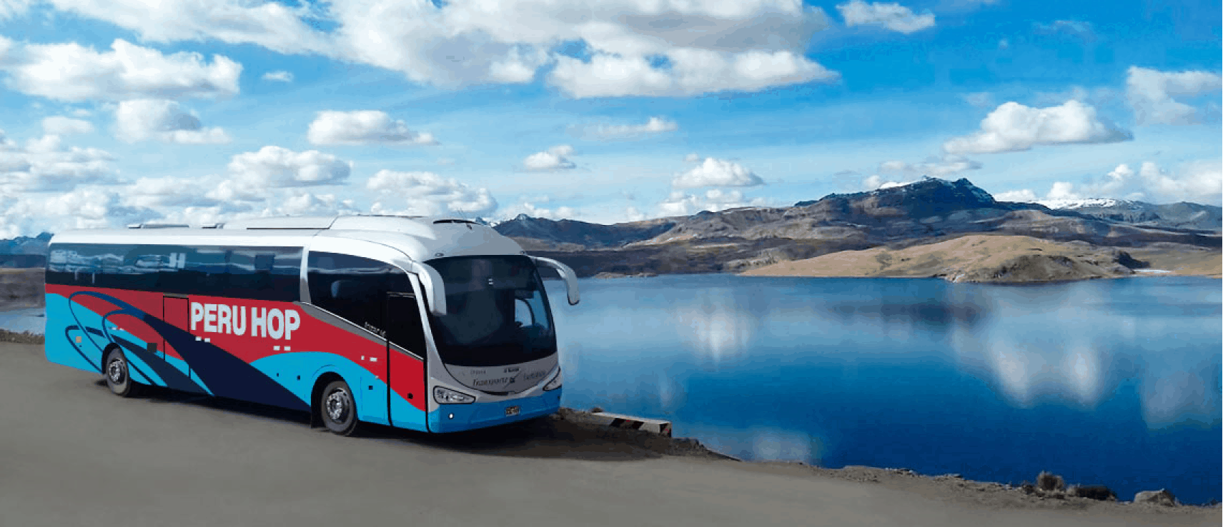 Peru Hop bus beside lake